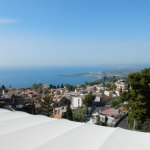View to the left of Taormina and the sea