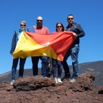 Obligatory selfie on Mount Etna complete with Sicilian flag!