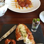 Lunch - Tarte Tartin and a ham and cheese croissant