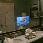 TV under bathroom mirrow