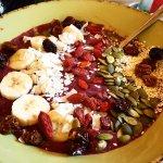 Liger Alive - a smoothie Bowl with acai, blueberries, dates, lemon blended with tiger nut mylk