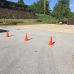 Parking cones to accommodate my truck/car hauler & classic car.