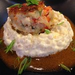 Lobster & Shrimp Cake with Mac & Cheese Couscous