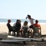 The theory of surfing... in the shade. Shade is a good thing in Samara.