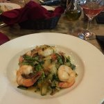 Spaghetti squash primavera with shrimp
