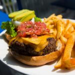The Big Taco Burger at Lost Lagoon Wings & Grill in New Smyrna Beach.
