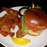 Fish Sandwich and Crisps (thick potato chips)