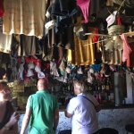 Garments hanging from the ceiling