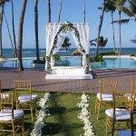 wedding set up on Indigo pool deck