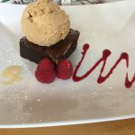 Pecan Nut Brownie with raspberries, strawberry and Salted Caramel ice-cream