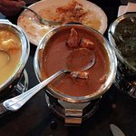 Dinner special - prawn goa curry, butter chicken, palak paneer