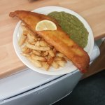 Fish chips a peas. Medium size! Get 2 for 15 pound on a Friday only.