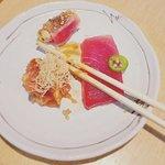 """""""Tuna 3 ways"""": sashimi, tartar w/lump crab, and wrapped in salmon"""