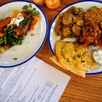 the potato and cauli curry and the roasted sweet potato with haloumi