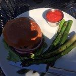 Burger with side asparagus