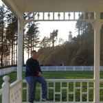 My husband on the balcony of Heceta Head.