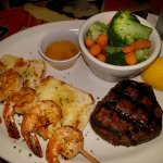 Filet, shrimp and steamed vegetables.
