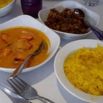 butter chicken, pilau rice and mushroom bhaji