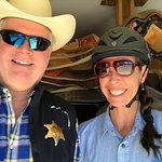Michelle, the top wrangler, with the Dude at Dude Ranch
