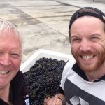 Dave and Blair thrilled with the hand harvest ed Pinot Noir.
