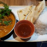 In Broyage bar and bistro, Chicken Tikka Masala: 'succulent chicken fillet, fragrant rice, naan