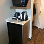 Microwave, mini fridge (good space) and Keurig. Nice!