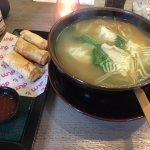 Vegetarian spring rolls and chicken dumpling noodle soup.