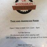 The Woodsmans Dining & Spirits Menu