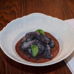 Sulance' with poppy seed and creamy plum sauce