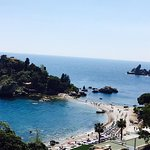 The lovely view over the sea and Isola Bella from my balcony.
