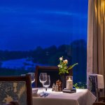 The restaurant and River Thames view at night