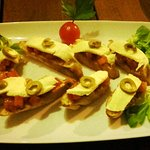 A delicious appetizer with home-made breads-bruschetta
