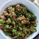 A quinoa and edamame bean salad bowl - packed full of flavour.