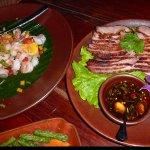 Shrimp salad and braised pork