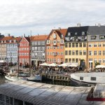 Panoramic view over Nyhavn from our second-floor room