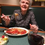 My Mother-In-Law enjoying her Eggplant Parm.