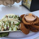 Mahi Tacos and Onion Rings