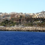 Mgarr Harbour and town from the ferry