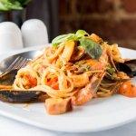 Spaghetti with mixed fish