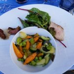 Aromatic roasted vegetables with veal roast and pigeon at second stop.