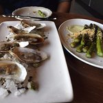 Oysters three ways and a side of asparagus
