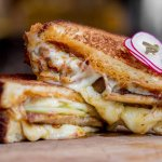GRILLED CHEESE: o&b artisan challah, apple, bacon jam, pickled jalapeño