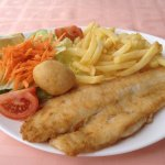 Sole Filet with french fries and salad