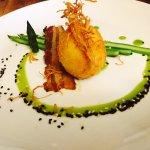 Soft cooked and crispy egg with asparagus, tesa, ginger & sesame