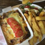 Lasagne, chips and salad