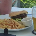 Burger and chips with beer - AUS $25 total
