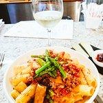 Tortiglioni with asparagus and lamb ragu