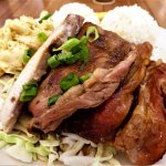 ALOHA MIXED PLATE; Our most popular combination - shoyu chicken, island fish (monchong), & teriy