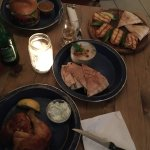 Quarter chicken, moutabal, halloumi and lamb burger - all recommended