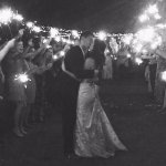 So beautiful under the stars, twinkle lights, and sparklers.